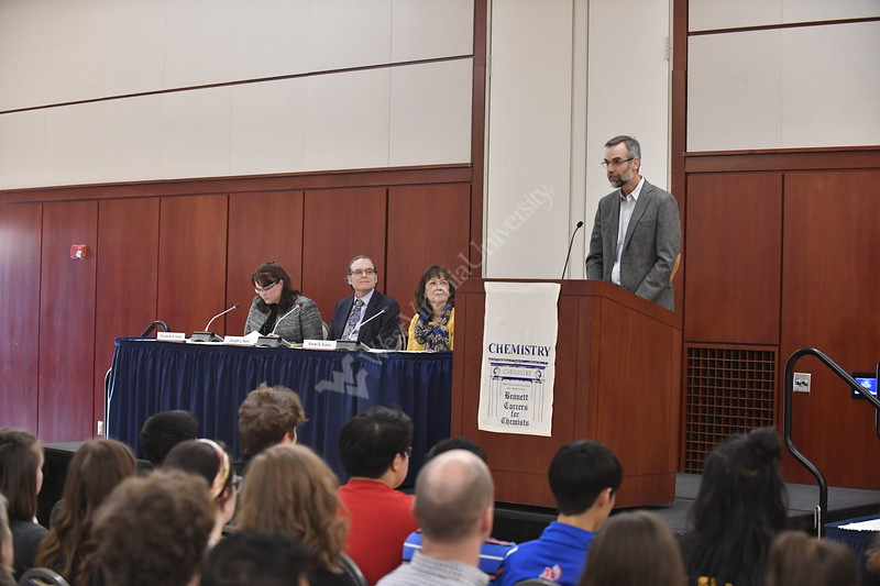 The Department of Chemistry hosts the 25 annual Bennett Careers for Chemists at the Erickson Alumni Center April 10th, 2019.  Photo Brian Persinger