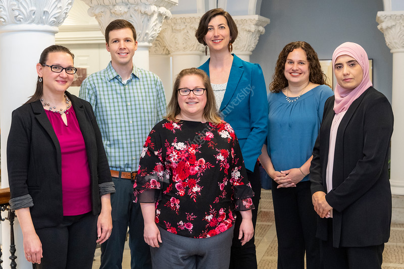 WVU Outstanding Teacher Award Recipients pose for portraits and group photo at Stewart Hall, April 15, 2019. Photo Greg Ellis