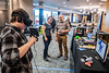 Felicks Pyron a Printmaking Graduate Student uses the Oculus Rift to sculpt a dog in VR which can later be exported to a 3D printer at WVU Demo Day in the CAC April, 25th 2019.  Photo Brian Persinger