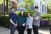 Daniel Baker, Katrina Rupert, Oriana Ovide, and Chad Hite pose for phogoraphs after being awarded the National Institute of Standards and Technology's Summer Undergraduate Research Fellowship in front of the Mountainlair April 29th, 2019.  Photo Brian Persinger