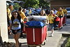 Incoming freshmen and returning students move into their dorm rooms with the assistance of parents, fellow students and WVU volunteers, greeted by WVU President E Gordon Gee. August 17, 2019. Photo Greg Ellis