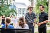Theodore Stackpole, a Finance major and Maguire Glass, a Theatre Design and Tech major talk with friends in Woodburn Circle August 21st, 2019.  Photo Brian Persinger