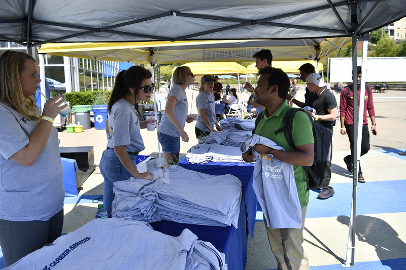WVU students, staff, factuality, and perspective employers take part in the Career Kick Off Tailgate Party on the Mountain Lair Plaza August 30, 2019.(WVU  Photo/Greg Ellis)