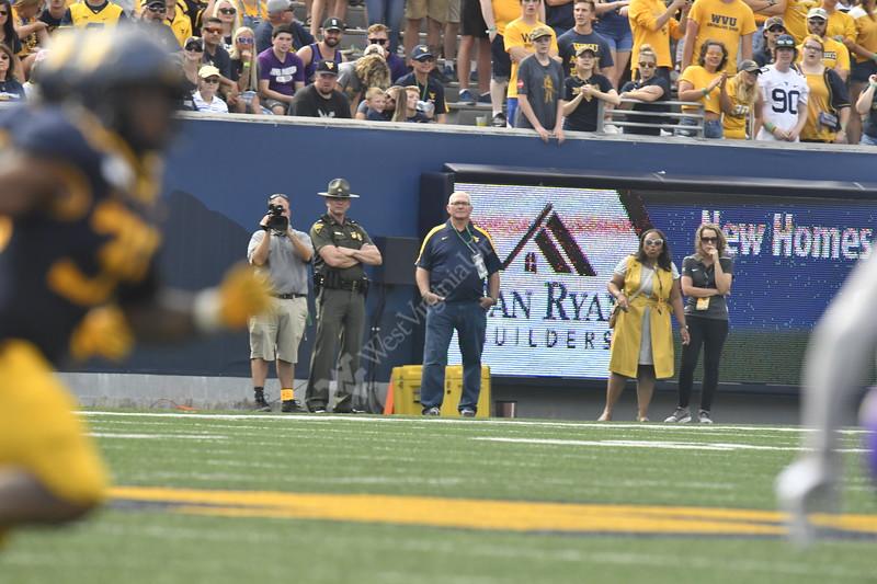 The Mountaineer Football Team plays James Madison University on Mountaineer Field August 31st, 2019.  (WVU Photo/Brian Persinger)