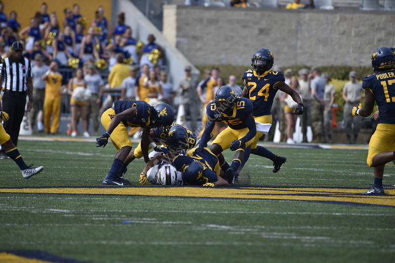WVU football team faced off against James Madison on August 31, 2019. (WVU Photo/Parker Sheppard)