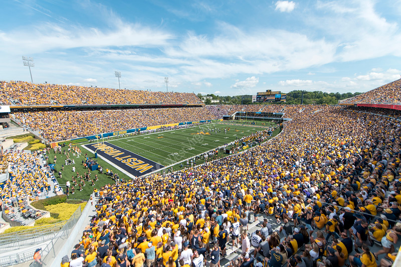 Milan Puskar Stadium was sold out as the WVU football team faced off against James Madison on August 31, 2019. (WVU Photo/Parker Sheppard)