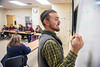 Seniors in Agricultural and Extension Education (AGEE) 430: Methods – Teaching Agriculture class discuss projects in the Ag Sciences Building December 5th, 2019.  (WVU Photo/Brian Persinger)