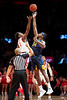Oscar Tshiebwe jumps for the tip off. The WVU Men's Basketball team took on Saint John's at Madison Square Garden December 7, 2019. (WVU Photo/Parker Sheppard)
