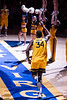 Oscar Tshiebwe runs onto the court. WVU Men's Basketball took on Austin Peay on December 12, 2019 in the Coliseum. (WVU Photo/Parker Sheppard)