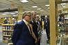 President Gee visits Evansdale Library to present his collection of bow ties on February 6, 2019.