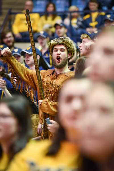 Mascot finalist Connor Capron cheers on during the second half of the WVU men's basketball game against K-State.