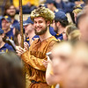 Mascot finalist Connor Capron smiles during the second half of the WVU men's basketball game against K-State.