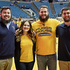 The four Mountaineer Mascots (left to right) Thaiddues Dillie, Brooke Ashby, Timothy Eads and Connor Capron.