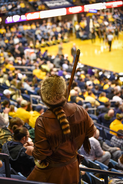 Mascot finalist Timothy Eads looks on during the first half of the WVU men's basketball game against K-State.