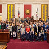 Students pose for a group photo in the House of Delegates on WVU's Day at the Legislature.