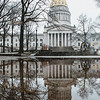 A snowing morning greeted the students as they arrived at the State Capitol building.
