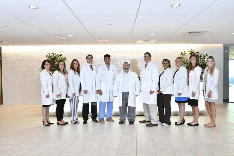 Members of the WVU Medicine VAD Team,  Department of Cardiovascular and Thoracic Surgery pose for a group photo at the Heart and Vascular Institute, 7th Floor JW Ruby Memorial Hospital July 9,  2019. Photo Greg Ellis