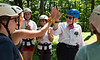 President Gee shares a high-five with an incoming WVU student at an Adventure WV camp on Monday, July 15, 2019.