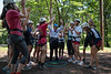 President Gee celebrates dropping a rubber chicken named Matilda into a hoop with incoming WVU freshmen at an Adventure WV camp on Monday, July 15, 2019.