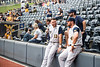TJ Lake and Andrew Zitel talk to a fan before their third game of the NCAA Regional on June 2, 2019 at Monongalia County Ballpark. Photo Parker Sheppard