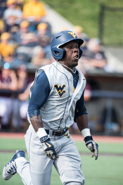 Tyler Doanes running for first base in WVU's third game of the NCAA Regional on June 2, 2019 at Monongalia County Ballpark. Photo Parker Sheppard