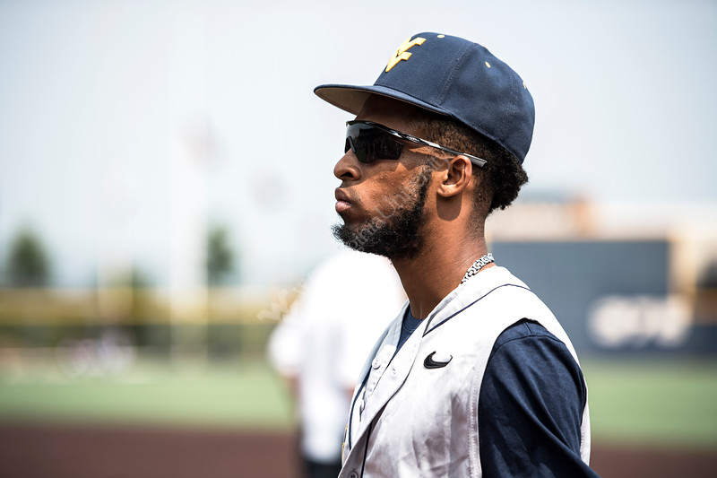 Brandon white walking onto the field before WVU's third game of the NCAA Regional on June 2, 2019 at Monongalia County Ballpark. Photo Parker Sheppard