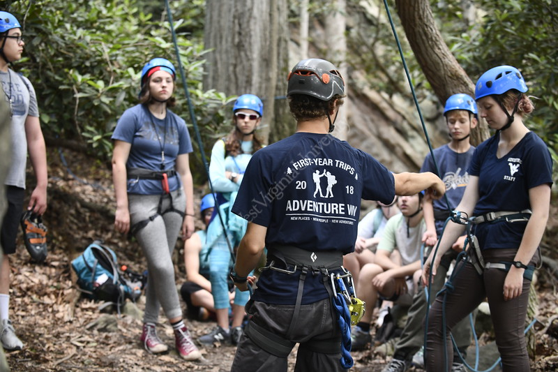 The Davis College of Agriculture, Natural Resources and Design hosts the Appalachian Geoscience Geo Camp as they rock climb at Coopers Rock June 25th, 2019.  Photo Brian Persinger