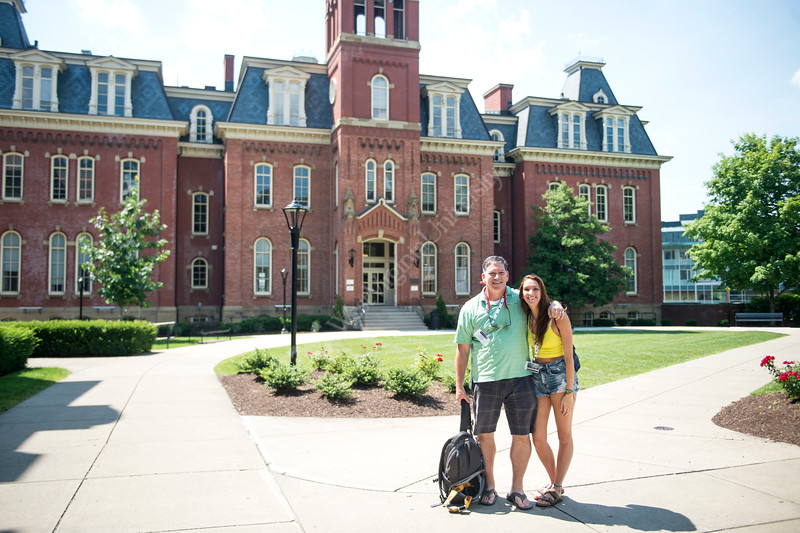 Steven Moulton poses with daughter, Maggie Moulton, outside of Woodburn Hall after attending New Student Orientation on June 27, 2019. Photo Parker Sheppard