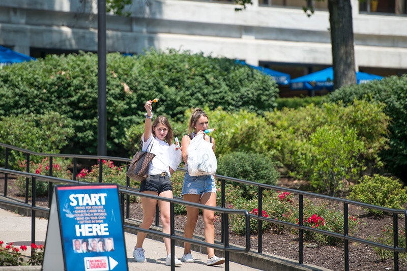 Molly Berardelli and Taylor Angelillis enjoy popsicles after attending New Student Orientation on June 27, 2019. Photo Parker Sheppard