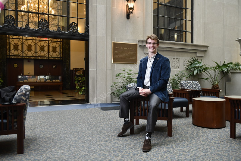 Civic Newman Fellowship recipient David Laub poses for photographs in the Charles Wise Library on the downtown campus March 25th, 2019.  Photo Brian Persinger