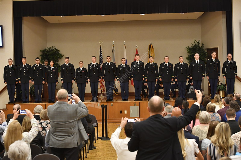 WVU May ROTC Graduates and their families take part in their commissioning ceremony at the Montain Lair Blue and Gold ball rooms, May 9, 2019. Photo Greg Ellis