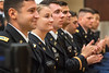 WVU May ROTC Graduates applaud during the commissioning ceremony at the Mountain Lair Blue and Gold ball rooms, May 9, 2019. Photo Greg Ellis