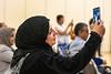 Debsicee Mandal captures her daughter Raida Al Barttamani celebration on stage at the International Student Graduation and Reception Erickson Alumni Center, May 9, 2019. Photo Greg Ellis