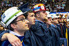 WVU Statler College  Mineral Sciences Graduates don hard hats to show their support for the Coal industry at the May Commencement bringing graduates, family and friends together at the WVU Coliseum to celebrate graduates achievements, May 11, 2019. Photo Greg Ellis May 2019