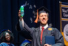 WVU Statler College Graduate Joseph Graves crosses the stage with bubbles at the May Commencement bringing graduates, family and friends together at the WVU Coliseum to celebrate graduates achievements, May 11, 2019. Photo Greg Ellis May 2019