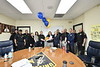 """Capetian Sherry St. Clair first female Captain of the WVU Police department poses with other WVU officers as she is  is awarded the """"Good EGG"""" award for her outstanding performance as a member of the WVU Police Force and a member of the """"CARE"""" team. May 15, 2019. Photo Greg Ellis"""