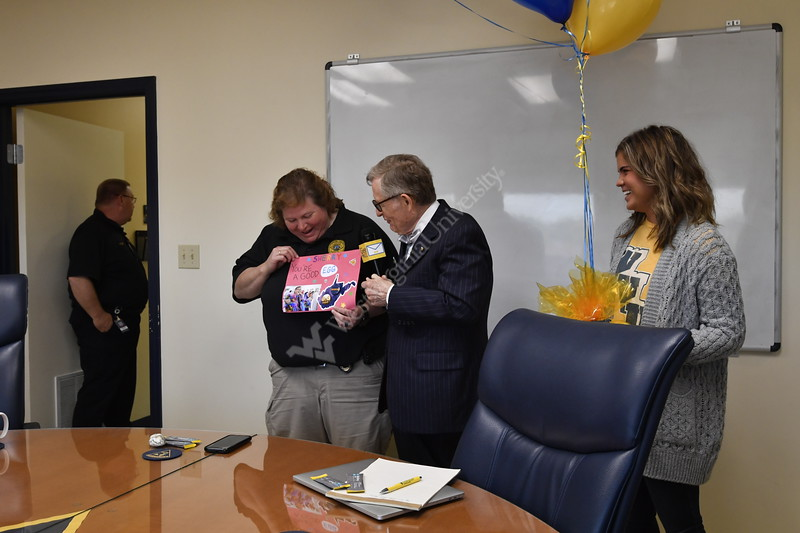 """Capetian Sherry St. Clair first female Captain of the WVU Police department is awarded the """"Good EGG"""" award for her outstanding performance as a member of the WVU Police Force and a member of the """"CARE"""" team. May 15, 2019. Photo Greg Ellis"""