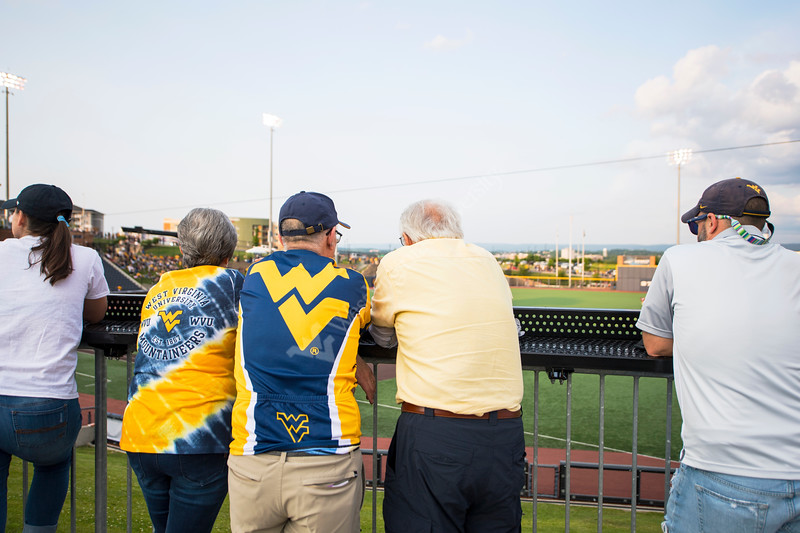 WVU fans watch the first game of the NCAA Regional on May 31, 2019 at Monongalia County Ballpark. Photo Parker Sheppard