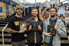Beard Growing Champion Connor Nelson, runner ups Mitchell Blaket and Elliot Barrett pose for photographs at the conclusion of the Beard Growing Finals at the Mountainlair, November 6th, 2019.  (WVU Photo/Brian Persinger)