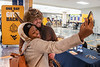 Computer Information Systems major Nandi Mbaya poses with Mountaineer Timmy Eads in the Mountainlair during the Day of Giving November 13th, 2019.  (WVU Photo/Brian Persinger)