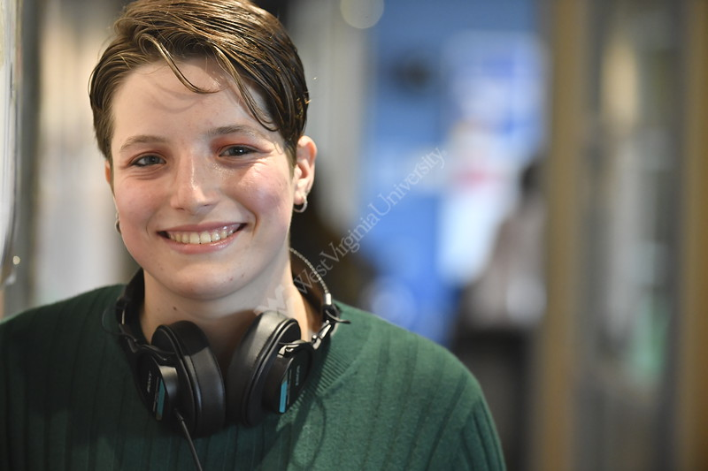 Reed College of Media, Honoros College student and Student Athlete on the Swimming and Diving Team Kayla Gagnon poses for photographs in the Media Innovation Center at Evansdale Crossing November 15th, 2019.  (WVU Photo/Brian Persinger)