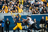 George Campbell reaching for a catch. The Mountaineer Football team faced off against OSU at Mountaineer Field November 24, 2019. (WVU Photo/Parker Sheppard)