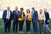 The West Virginia University Alumni Band recieves an award during the Homecoming Alumni Awards given out at half time during the WVU Football game against Texas on October 5, 2019. (WVU Photo/Parker Sheppard)