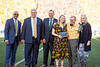 Katie Moore recieves an award during the Homecoming Alumni Awards given out at half time during the WVU Football game against Texas on October 5, 2019. (WVU Photo/Parker Sheppard)