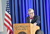 WVU President E. Gordon Gee and WVU Provost Maryanne Reed address the WVU community at the 2019 WVU SOU October14, 2019. (WVU Photo/Greg Ellis)