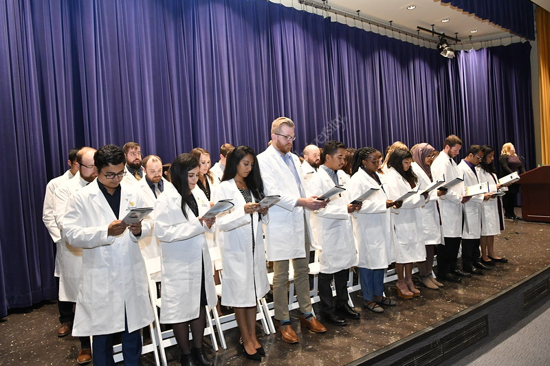 WVU HSC students take part in the Research and Graduate Ed Research Induction Ceremony at the HSC October 18,2019. (WVU Photo/Greg Ellis)