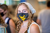 WVU Freshmen arrive on the WVU campus interacting and physical distancing before the start of classes during the Covid-19 pandemic August 19, 2020. (WVU Photo/Greg Ellis)