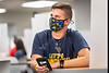 WVU Freshmen Camron Wayne Gasaway WV.  Biochemistry chats with friends and relaxs in the WVU Mountainlair on the WVU Downtown Campus as students return to the WVU Campus for the first day of classes during the Covid-19 pandemic August 26, 2020. (WVU Photo/Greg Ellis)