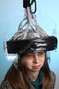 36338 Pet Helmet<br /> Julie Brefczynskik-Lewis wears an experimental potable PET helmet.<br /> WVU Photo/ Raymond Thompson