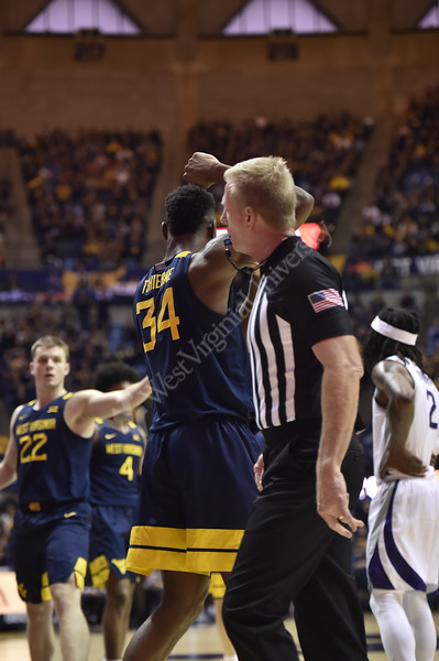 WVU Men's Basketball took on Kansas State on February 1, 2020 in the Coliseum. (WVU Photo/Parker Sheppard)